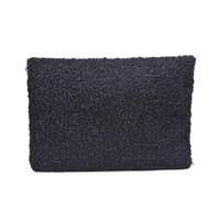 Soft Curly Wool Fold Over Clutch Taupe