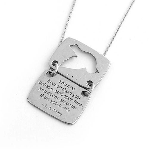 Silver Love Note Dove Shaped Necklace