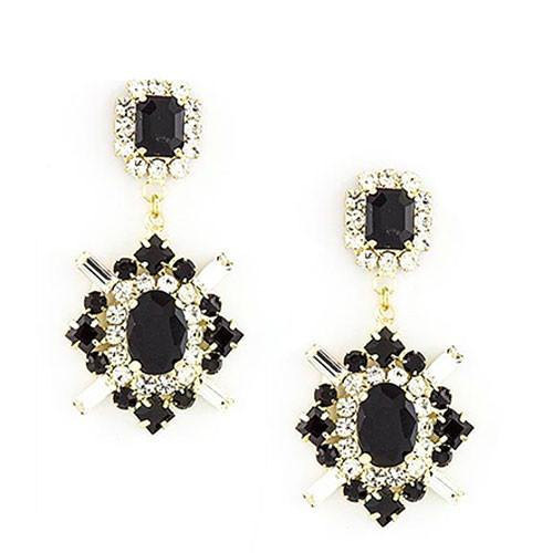 Royal Marquis Jet and Crystal Earring