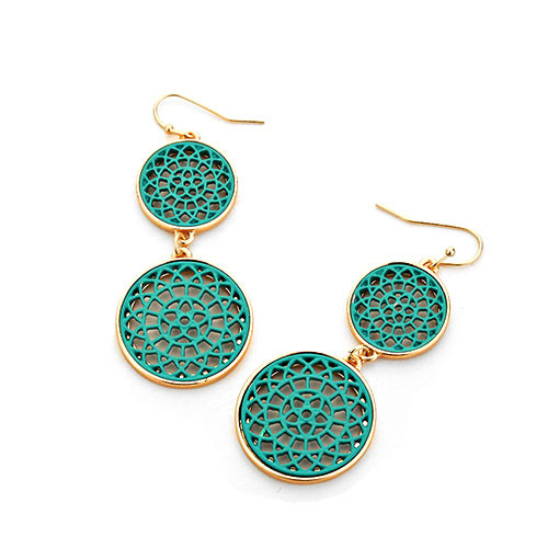 Green Lacey Lotus Double Circle Earrings