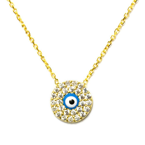 Gold or Silver Tiny Evil Eye with C.Z Necklace