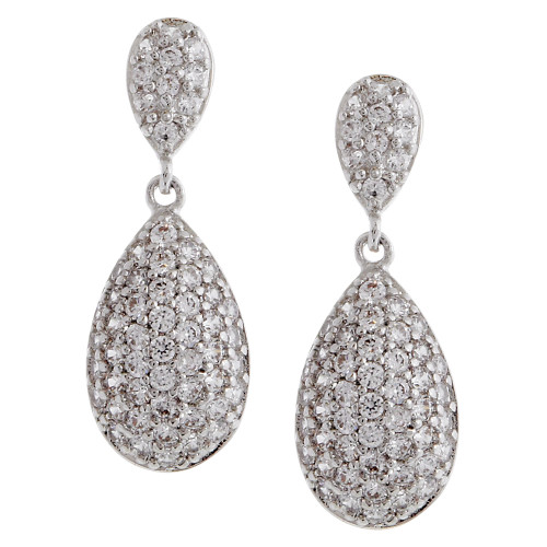 Micro Pave Cubic Zirconia Teardrop Dangle Earring