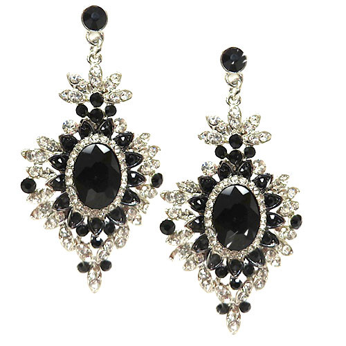 Jet and Crystal Regal Medallion Earring