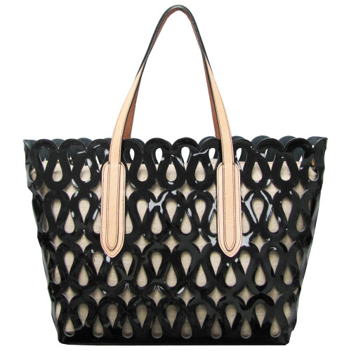 Black Patent Perforated Tote