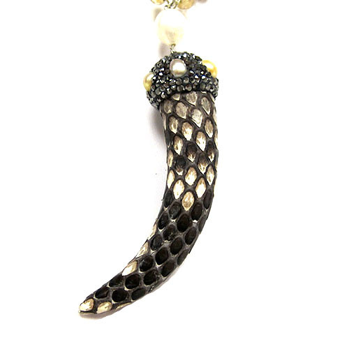 Snakeskin Horn and Jewels Necklace