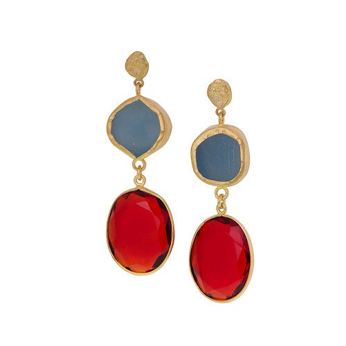 Two Stone Exotic Dangles Earring Bl/Or