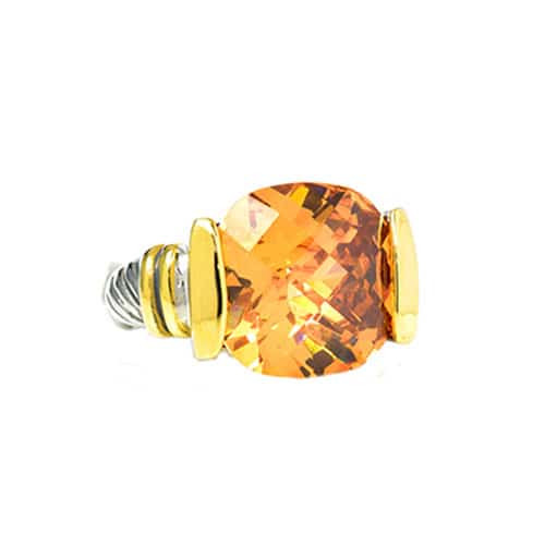Yuri's Two Tone Golden Colorado Crystal Ring