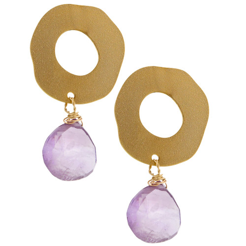 Open Circle with Amethyst Drop