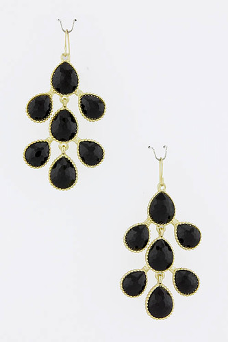 Black Teardrop Branch Earrings