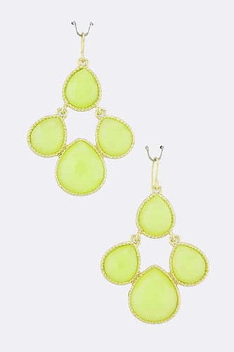 Lime Citrus Dew Drop Jewel Earrings