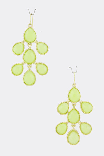 Lime Teardrop Branch Earrings