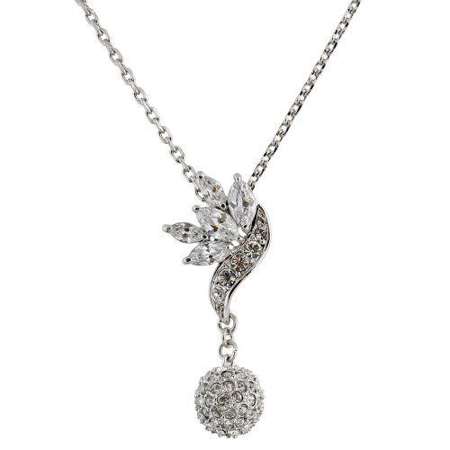 Leaf and Pave Ball Drop Pendant