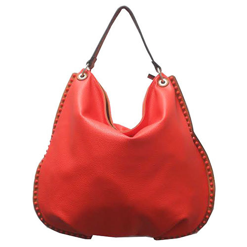 Sondra Robert's Tomato Red Studded Hobo
