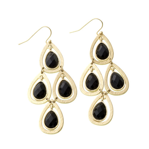 Chandelier Style Black Lotus Leaf Earring
