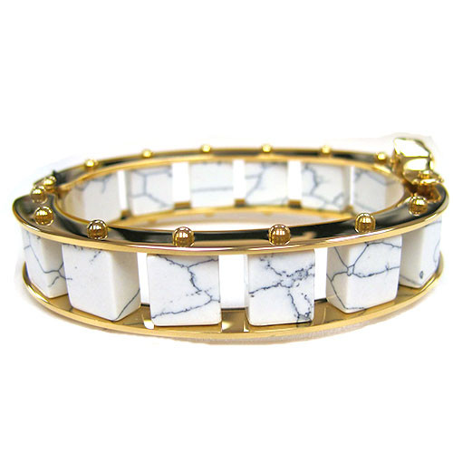 Narrow Howlite Ladder Cuff Bracelet
