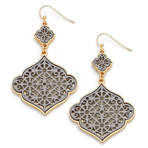 Laser Lotus Dangle Earring Gray