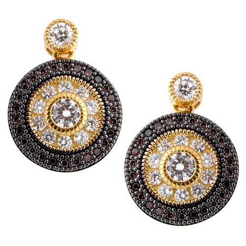 Lafonn's Chocolate and Clear simulated Diamond Designer Shield Earring