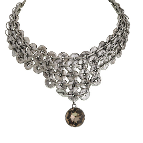 Multi-Circle Antiqued Silver Collar Necklace