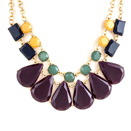 Eggplant and Mustard Layered Statement Necklace