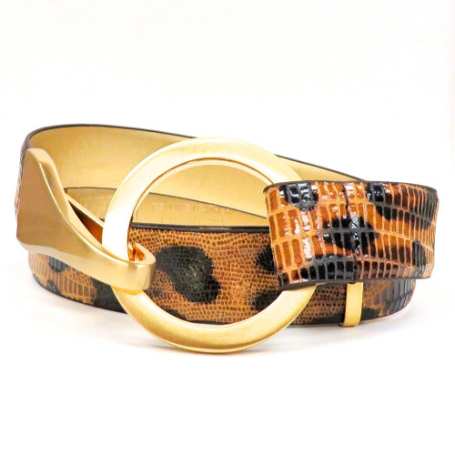 Brown Embossed Cheetah Belt