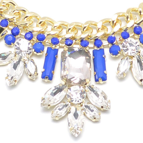 Cobalt And Crystal Statement Necklace