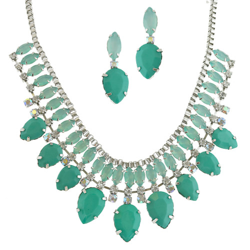 Pacific Opal and Green Crystal Statement Set