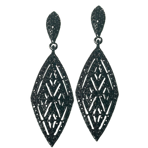 Black Diamond Shaped Drop Earring