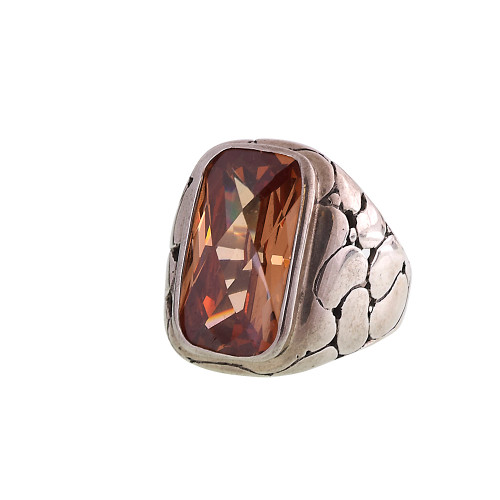 Smokey Topaz Large Crystal Ring