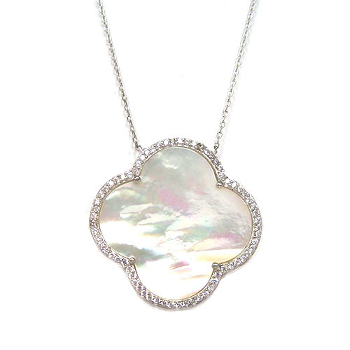 Mother-of Pearl Quatrefoil Necklace-S