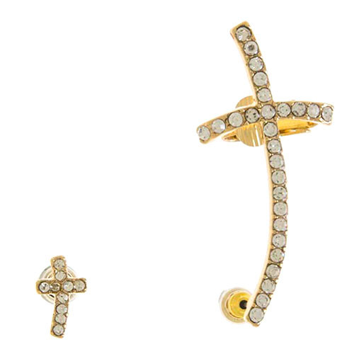 Crystal Cross Ear Cuff