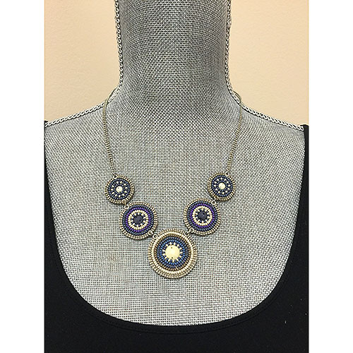 Denim Blues Beaded Circles Necklace