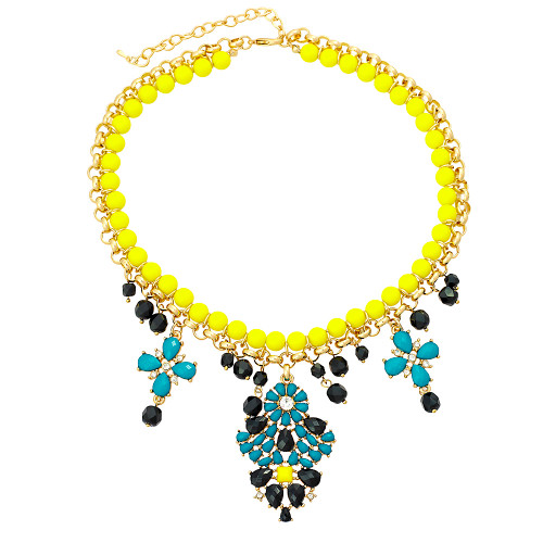 Bold Colored Cabochon Necklace