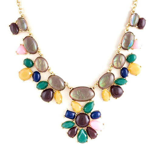 Gray Opals and Mix Fall Gems Necklace