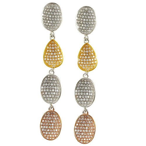 Four Concave Ovals Tri-Color Earring