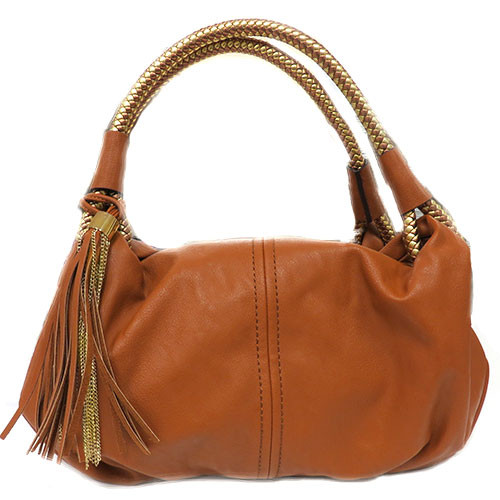 Sondra Robert's Woven Top Handle Tassel Bag Brown