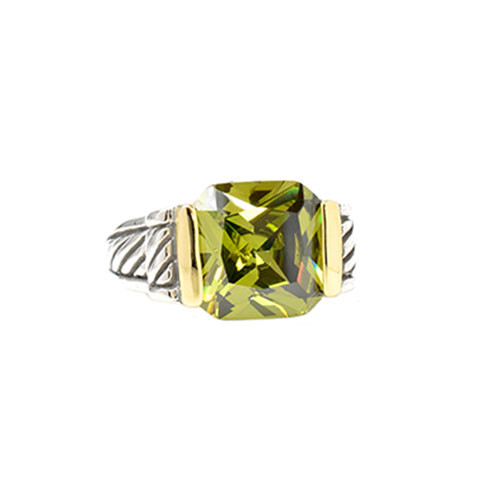 Yuri's Two Tone Olivine Crystal Ring