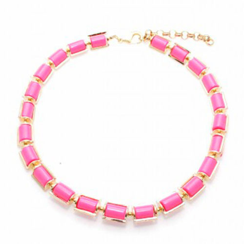 Pink Encased Tube Bead Necklace
