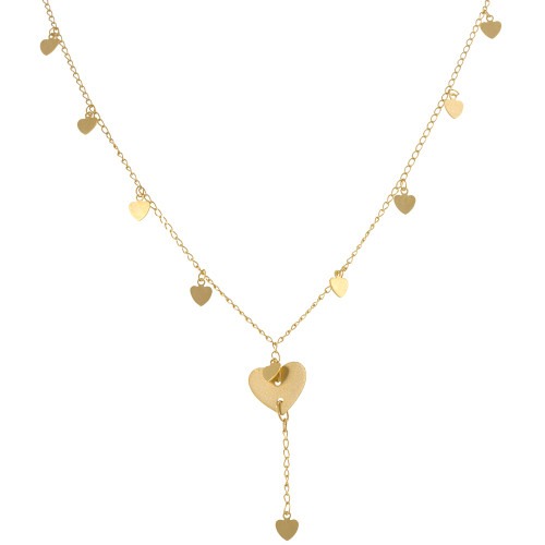 Super Delicate Bold Gold Hearts Necklace
