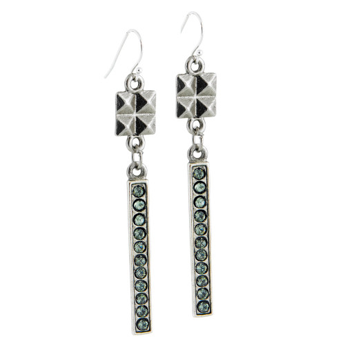 Antiqued Silver, Crystal Stick Earring