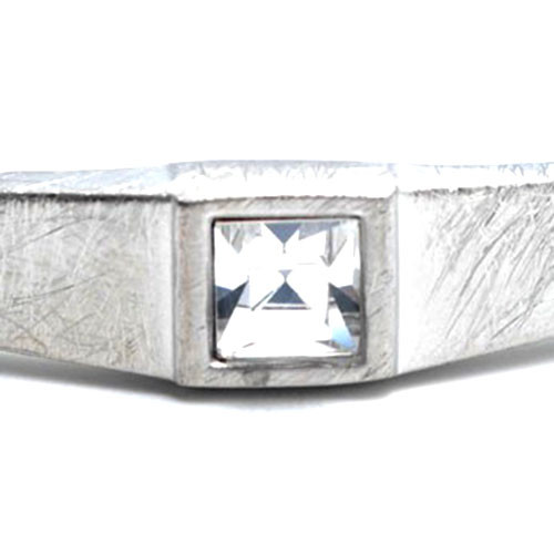 Square C.Z. in Brushed Silver Bangle