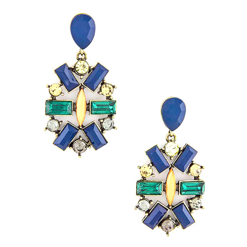 Jeweled Medallion Earring Blue