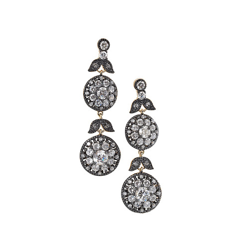 Freida Rothman's Double C.Z. Flower Drops In Black Rhodium