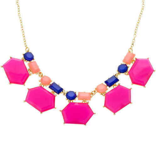 Fuchsia, Coral and Navy Jeweled Necklace