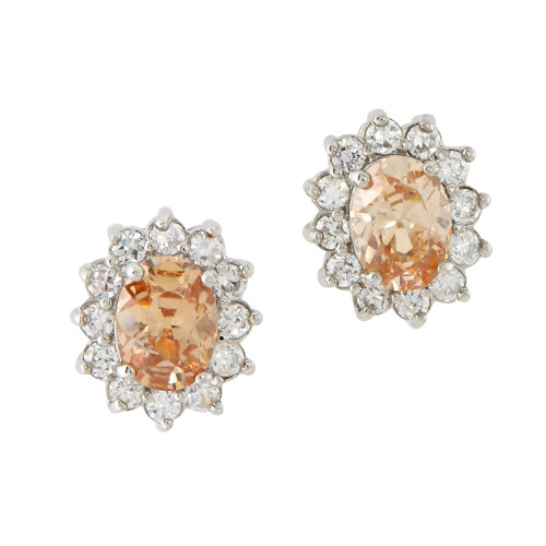 Light Topaz Oval Flower Stud