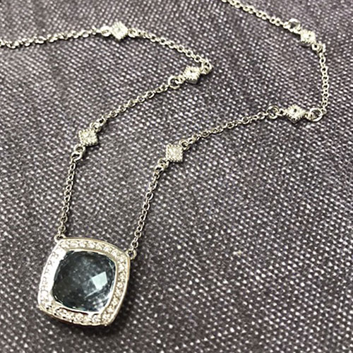 Lafonn's Large Square Sky Blue Topaz Necklace