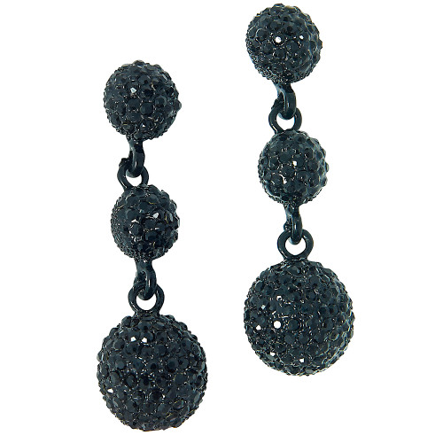 Jet Black Pave Crystal Triple Drop