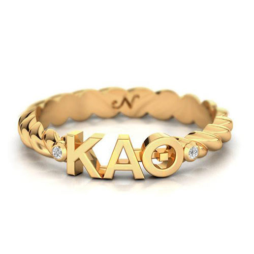 Kappa Alpha Theta Gold Pavé Twist Letter Ring