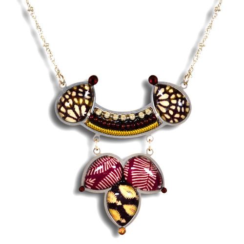 Burgundy and Brown Vintage Fabric Necklace