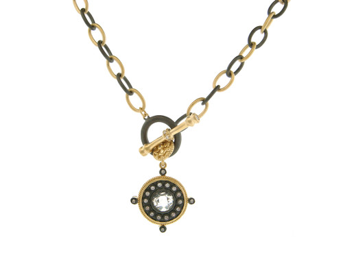 Freida Rothman's Black Rhodium and Gold Links Toggle Necklace