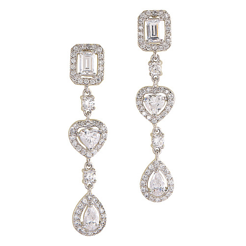 Rectangle, Pear, and Trillion C.Z. Earrings